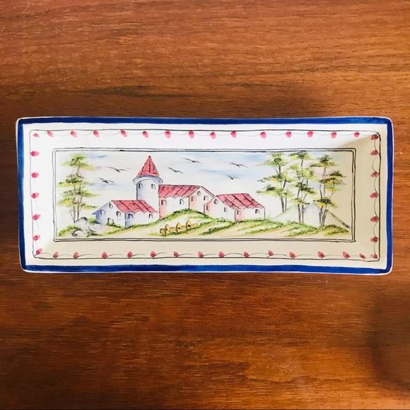 Hand painted Bricolarte Portugal ceramic dish